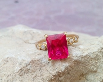 SALE! Rectangle ring,ruby ring,gold ring,gemstone ring,prong ring,july birthstone,red ring,stacking ring,statement ring
