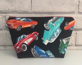 Classic Cars Cosmetics Bag, Hotrod Makeup Bag, Retro Cars