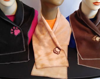 Dog Paw Print Neck Warmer Scarf, Cowl Scarf with Velcro Fastener