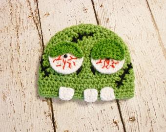 Crochet Green Zombie Beanie- Newborn to Adult