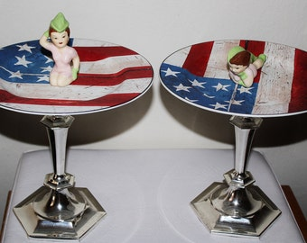 Salute Heroes Patriotic Military Troops Americana Pedestal Jewelry Catch All