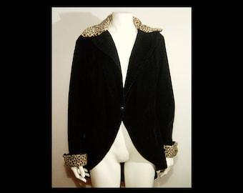Black rayon velvet & faux leopard print fur cutaway coat ~ Medium Large tux suit avant garde jacket Stella Marie Made in USA ~ as is 70s 80s