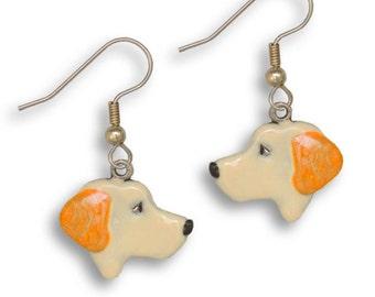 Enamel Yellow Labrador Earrings