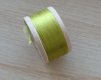 Vintage Pure Silk Buttonhole Twist Thread Spool 10 yards Size D Green Shade 9125