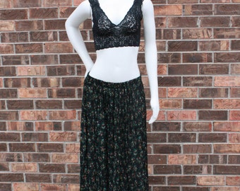 Black Floral Pleated Maxi Skirt - M/L/XL