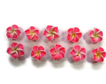 12 mm Polymer Clay Plumeria Flowers Set of 10 (MP4)