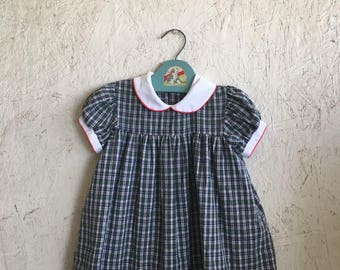Vintage Plaid Toddler Dress with Lace and Peter Pan Collar 70s Puff Sleeve Dress Size 2T