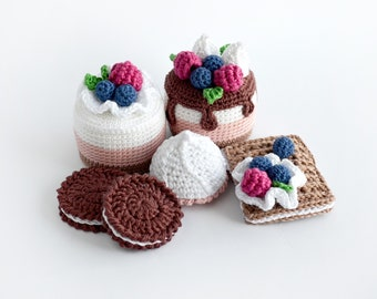 6pcs set Play food cake for kids Crochet cake pretend food for play kitchen fake food Learning toy Baby Toddler Infant gift Educational toy
