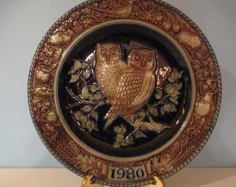 GOEBLE OWL STONEWARE W Germany Plate, 1980 Goeble Owl Plate, 1980 Goeble Stoneware Plate, Goeble Stoneware Plate, W German Goeble Plate