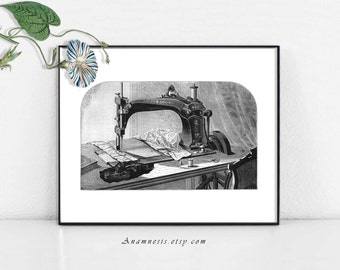 TREADLE SEWING MACHINE 01 - digital image download - printable sewing illustration for image transfer - totes, pillows, prints, clothes
