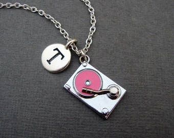 Pink Turntable Necklace, Record Player Bangle Bracelet, Vinyl Record Keychain Keyring, Music Gift for DJ Jewelry Disco Hip Hop Music