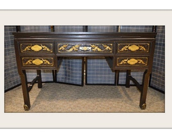 Carved Antique Oriental Rosewood Desk