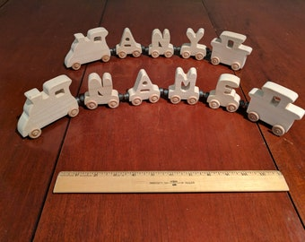 Wood Alphabet Train, Any Name is Available.  You Choose the Name.