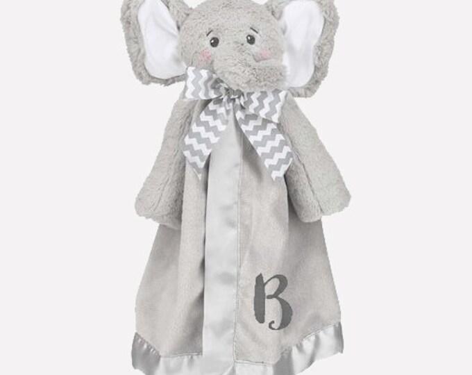 Featured listing image: Elephant Personalized Lovie Blanket for Baby, Grey Elephant