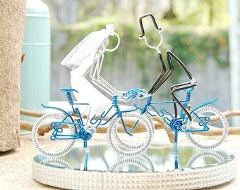 Wedding Cake Topper, Bicycle Wedding Cake Topper, Handmade Wedding Cake Topper, Blue Mr and Mrs Mountain Bikes with Silver Wheels.