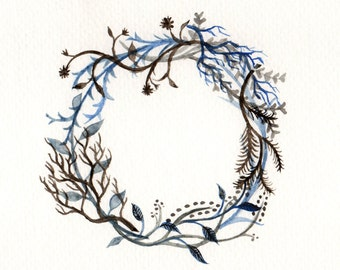 Printable Watercolor Floral Wreath Digital Download