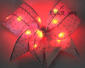 Awesome  LED light up Cheer Glo Bow with Rhinestones !! An Original by FunBows !