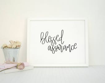 Blessed Assurance | Minimalist Christian Art | Hymn Print | Song Lyrics | Black and White | Minimalistic | Modern Calligraphy