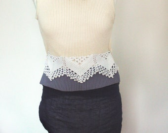 Upcycled clothing  Recycled blouse knitted with vintage linen needlepoint