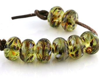 Grasslands Handmade Glass Lampwork Beads (8 count) by Pink Beach Studios - SRA (1784)