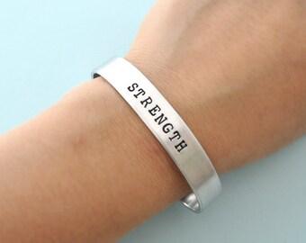men jewelry, Personalized metal cuff bracelet, custom bracelet, aluminum cuff hand stamped bracelet, STRENGTH, metal stamping,custom jewelry