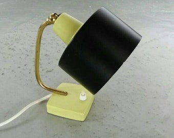 60s black and green desk lamp - brass body - alternative German lighting