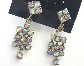 Vintage Aurora Borealis Dangle Earrings, Bridal Earrings, Screw Back Earrings