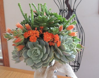 Succulent bouquet- orange, green bouquet