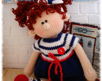 Pattern knitted doll Knitting pattern doll  Tutorial  knitted girl making Cute Soft doll pattern Doll in Sea style Alice - Emil's Girlfriend