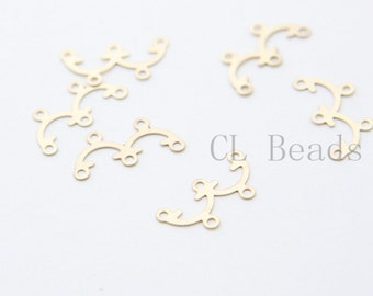 6pcs Matte 16K Gold Plated Brass Base Findings - 2 to 3 Components - 17.3x8.4mm (1726C-T-163)