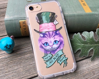 Cheshire Cat, We're All Mad Here Phone Case for iPhone 5, SE, 6, 6 Plus, 7, 7Plus, 8, 8 Plus and X. TPU or Wood Options