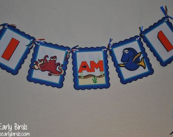 """Finding Dory/Finding Nemo- Inspired """"I am 1"""" (Age) Banner"""