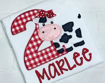 Girls Cow Birthday shirt, Farm birhday shirt, Cow girl applique shirt, Cow girl brithday shirt, Cowgirl Themed Birthday Shirt, MooMoo im two
