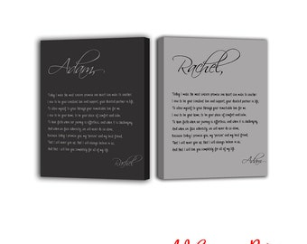 His and Hers Vows wedding vow art wedding vows framed wedding vow keepsake wedding vow canvas wedding vows calligraphy wedding vows gift