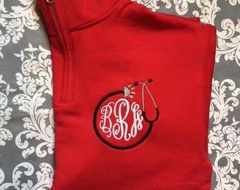 VET Monogrammed quarter zip sweatshirt. Veterinarian sweatshirt. Vet Tech quarter zip sweatshirt. S, M, L, XL, 2X, 3X. Product 995 - VET