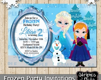 personalised elsa from frozen birthday party invitation