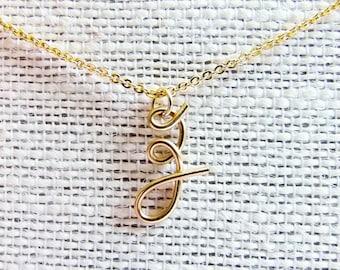 Monogram Necklace, Letter Z Necklace, Gold Initial Necklace, Cursive Letter Necklace, Letter Necklace, Initial Necklace, Initial Jewelry