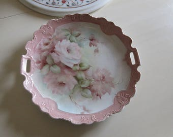 HAND PAINTED ROSE Plate with Handles