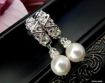 pearl bridal earrings, bridal clip on earrings, wedding pearl earrings, wedding rhinestone and pearl earrings, dangle earrings, pearl, LEXI