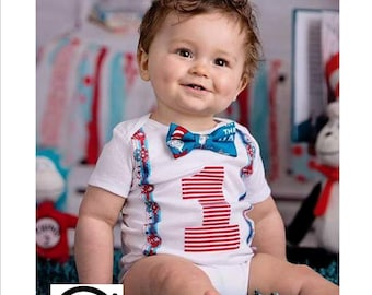 Dr Suess Cat in the Hat Cake Smash 1st 2nd Birthday Outfit baby boys Toddler Photo Prop Bow Tie Shirt Onesie ONLY