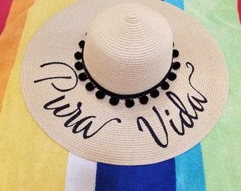 Pura Vida Beach Hat, Floppy Hat, Straw Hat, Ladies Sun Hat, Bachelorette Party, Girls Weekend Away
