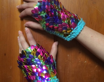 Rainbow Fish Glove Length DragonSwag Gauntlets