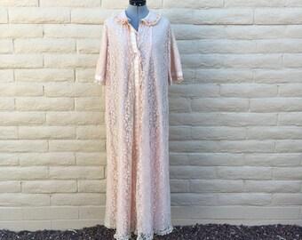 60s House Robe Pink Lace Rockabilly SZ L