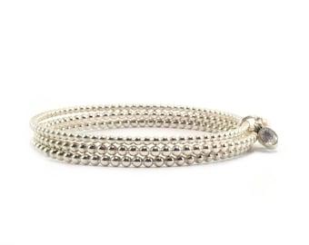 Set of 3 bangle bracelet silver, ball bracelet, gemstone bracelet