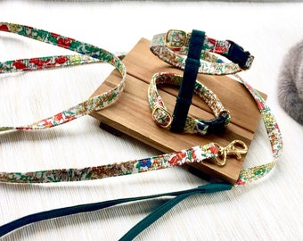 Adjustable Harness for Cat , Kitten or Rabbit - French Watercolor H-Harness and Leash Set