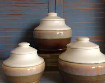 Retro Bessemer Ceramic Cannisters x 3 | Stoneware Cannisters