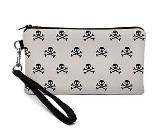 iPhone 8 Plus Wristlet, Galaxy Phone Wallet, Padded Smartphone Purse, Skull Wallet, Vegan Clutch Writslet - black skulls and crossbones