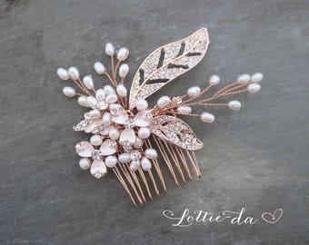 Rose Gold Pearl Bridal Wedding Comb, Boho Wedding Gold Hair Vine, Wedding Gold Hair vine leaves, Wire Hair Comb, Boho Headpiece - 'CALLIE'