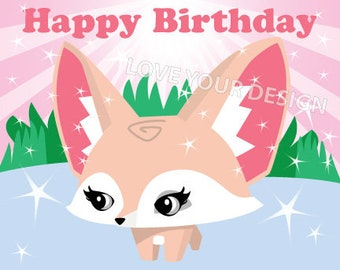 Animal Jam Fox Pin the tail on the Fox Birthday Game INSTANT DOWNLOAD Fennic Fox