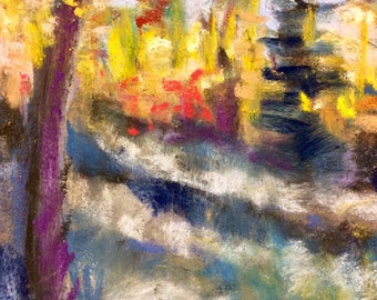 Golden Aspens early morning light pastel Painting expressionist impressionist